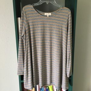 Anthropologie Gray Striped Swing Top XS